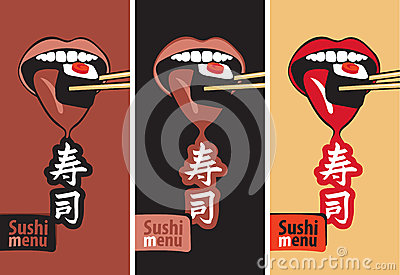 Mouth eat sushi