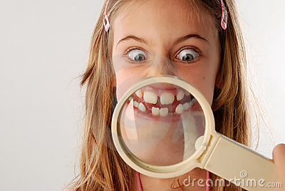 Mouth under magnifying glass