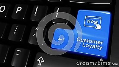 398 Mouvement mobile de fidélité de client sur le bouton de clavier d'ordinateur illustration stock