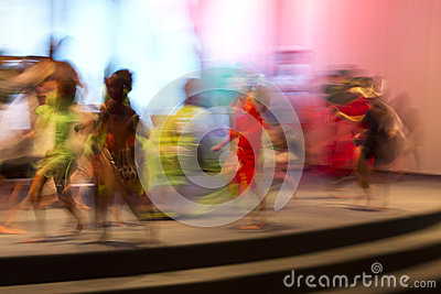 Movement captured with slow shutter speed