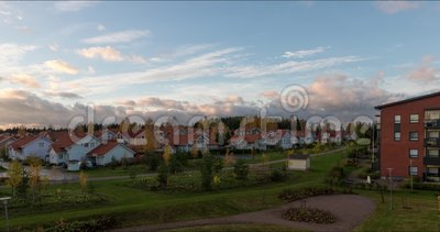 Movement of clouds over the buildings timelapse summer video Kerava Finland.  stock video
