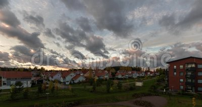 Movement of clouds over the buildings timelapse summer video Kerava Finland.  stock footage