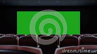 Movendo através do cinema moderno escuro Hall Over as cadeiras para a iluminação acima da tela Animação 3d bonita com verde filme