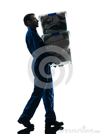 Free Mover With Boxes Silhouette Royalty Free Stock Photos - 28001658