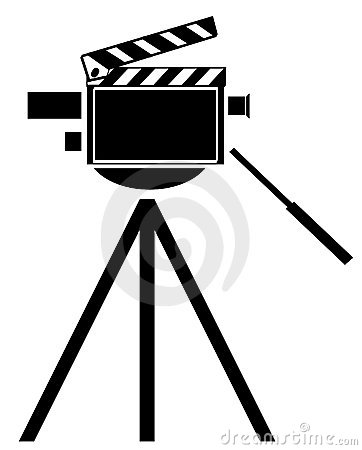Movie camera with clapboard