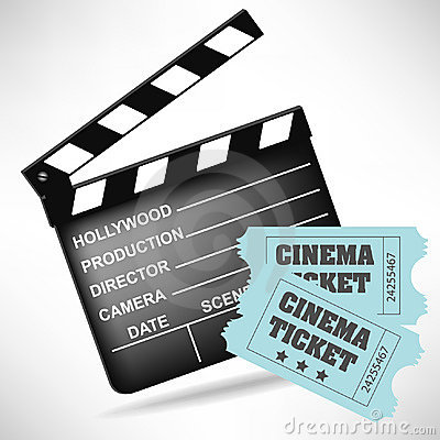 Movie clapper board and movie tickets