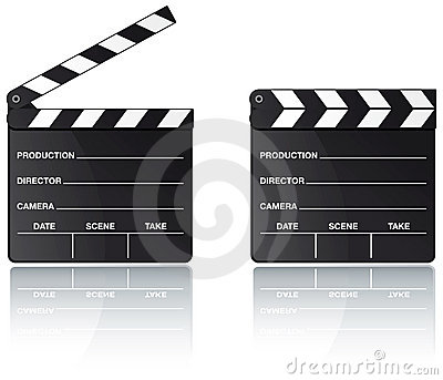Movie clapper board with reflection