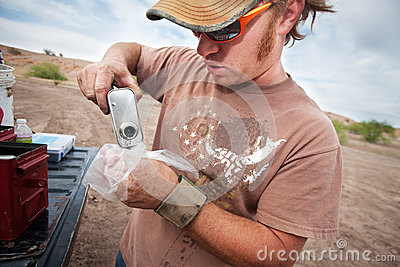 Movie Crew Member Pouring Explosive Powder