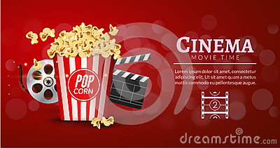 Movie film banner design template. Cinema concept with popcorn, filmstrip and film clapper. Theater cinematography poster Vector Illustration