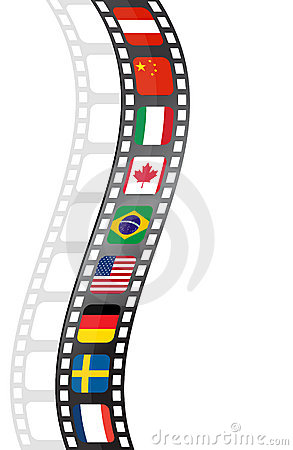 Movie film strip with flags