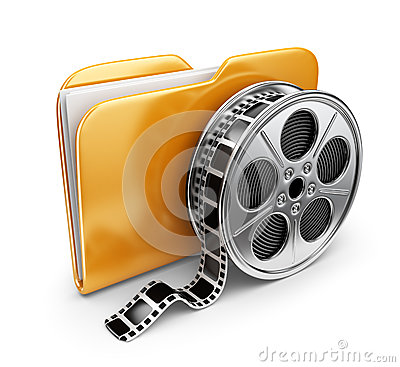 Movie folder with a films spool. 3D Icon isolated