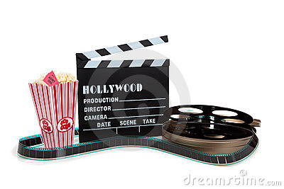 Movie reel with clapboard and popcorn