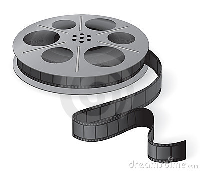 A movie reel with a strip of frames