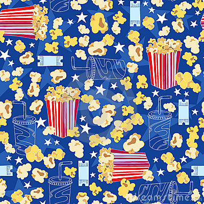 Movie Theater Popcorn Seamless Pattern