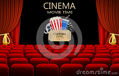 Movie theater with row of red seats Vector Illustration
