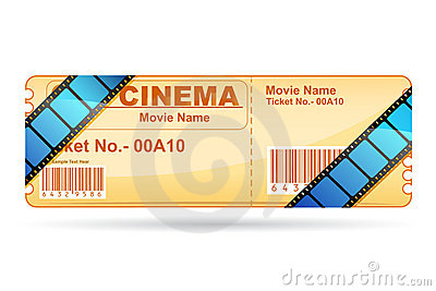 Movie Ticket wrapped with Film Reel