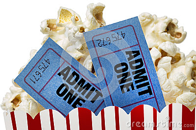 Movie Tickets And Popcorn Isolated