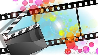 Movies film and Clapper board  background