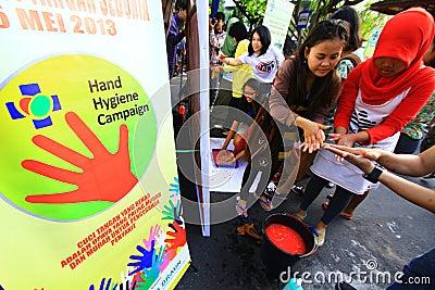 Movimiento Handwashing Fotografía editorial