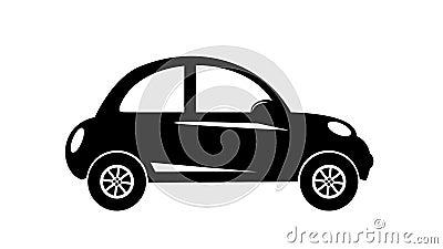 Movimiento moderno de la vista lateral del coche de la ciudad de la silueta aislado stock de ilustración