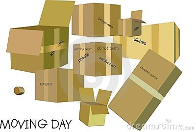 Moving day for home and business in 3d and on white