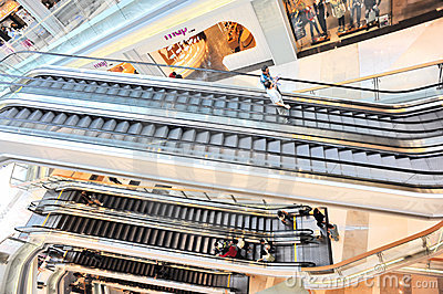 Moving escalators at mall Editorial Stock Image