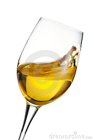 Free Moving Glass Of White Wine Stock Image - 6100251