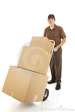 Free Moving Man Delivers Boxes Royalty Free Stock Photo - 13263455