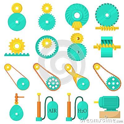 Free Moving Mechanisms Icons Set, Cartoon Style Stock Photo - 92470540