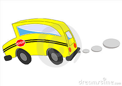 Moving school bus isolation on white background