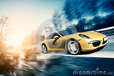 Moving sport car Editorial Photo