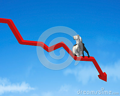 Moving up money symbol on going down red arrow