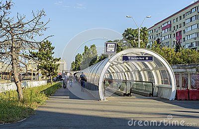 Moving walkway near railway station Editorial Stock Image
