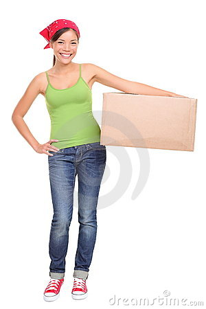 Moving woman holding cardboard box