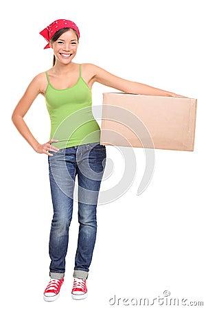 Moving woman holding cardboard box