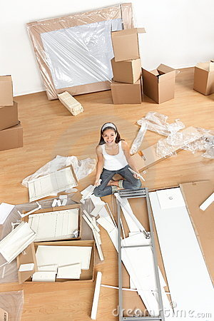 Moving woman in new home
