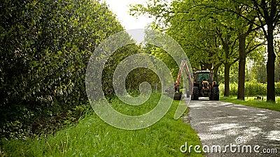 Mowing grass shoulder