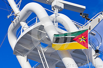 Mozambiquan flag flying