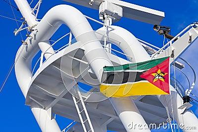 Mozambiquan flag flying