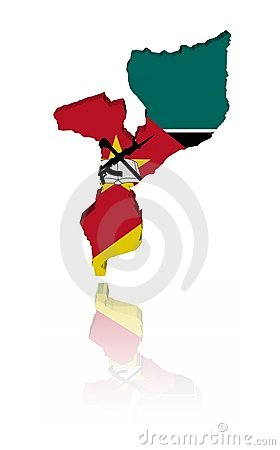 Mozambique map flag with reflection