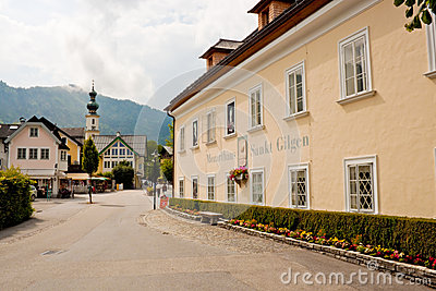 Mozarthouse and a street in St. Gilgen Editorial Photo