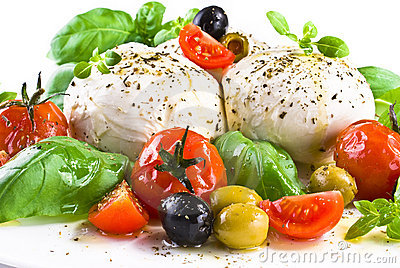 Mozzarella with basil cherry tomatoes and olives