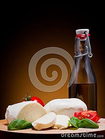Mozzarella, basil and tomato