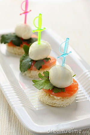 Mozzarella cheese canape royalty free stock photos image for Mozzarella canape
