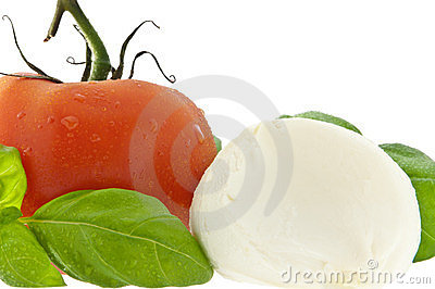 Mozzarella cheese, tomato and fresh basil
