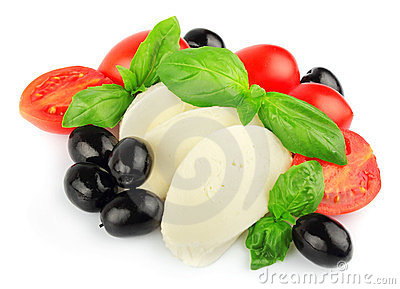 Mozzarella with fresh cherry tomatoes