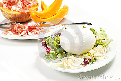 Mozzarella and ham and melon
