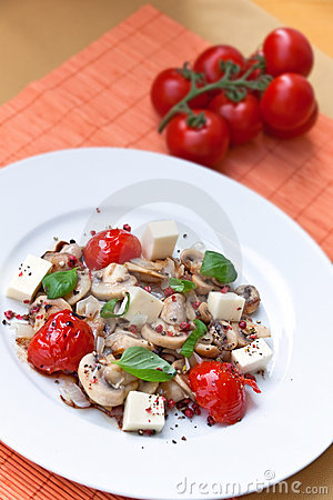 Mozzarella with mushrooms, cherry tomatoes,mint