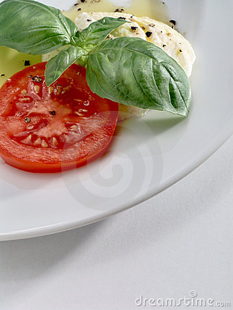 Mozzarella, tomato and basil on white plate