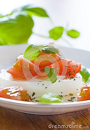 Mozzarella with tomatoes